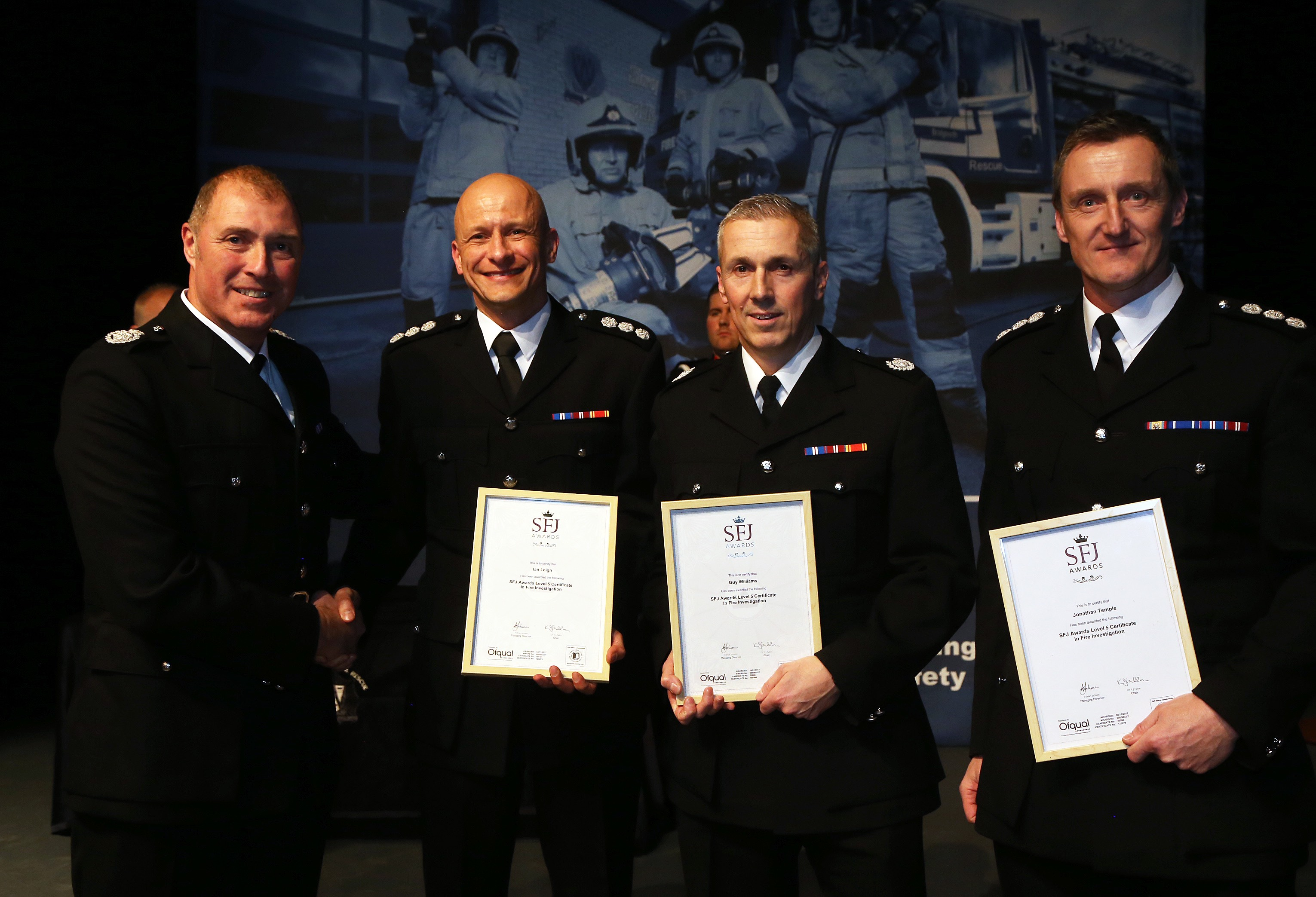 Fire officers Guy Williams, Mark Weaver and Jon Temple with their fire investigation awards