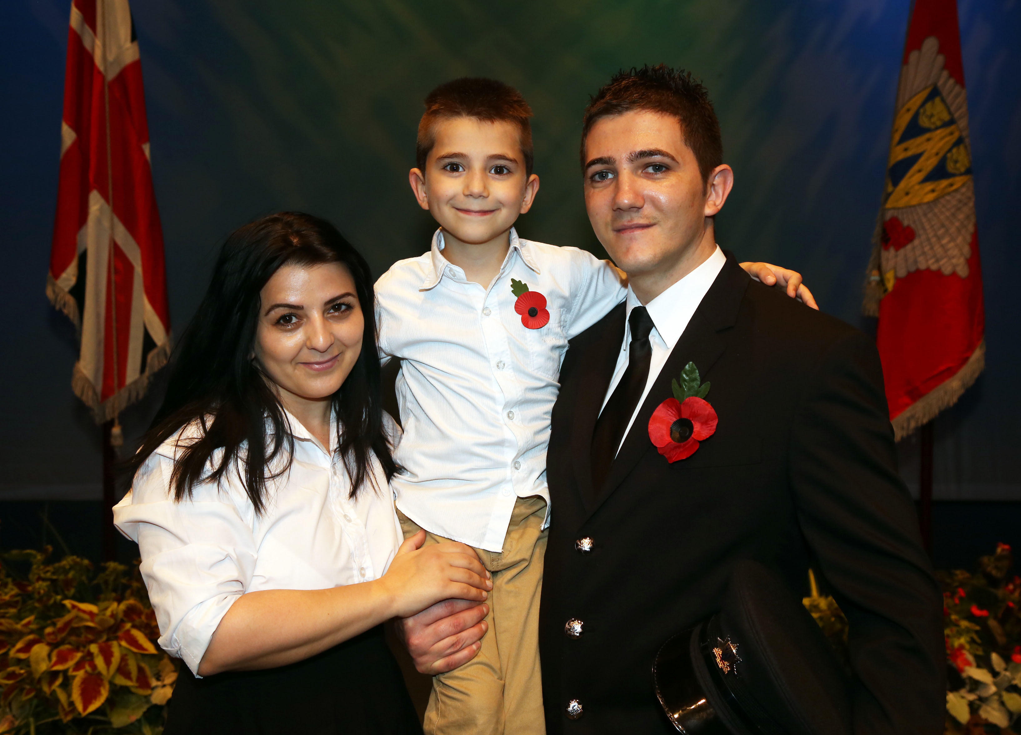 From Romania to Shropshire – firefighter Bogdan Ciornei with wife Melania and son Fabian (7).