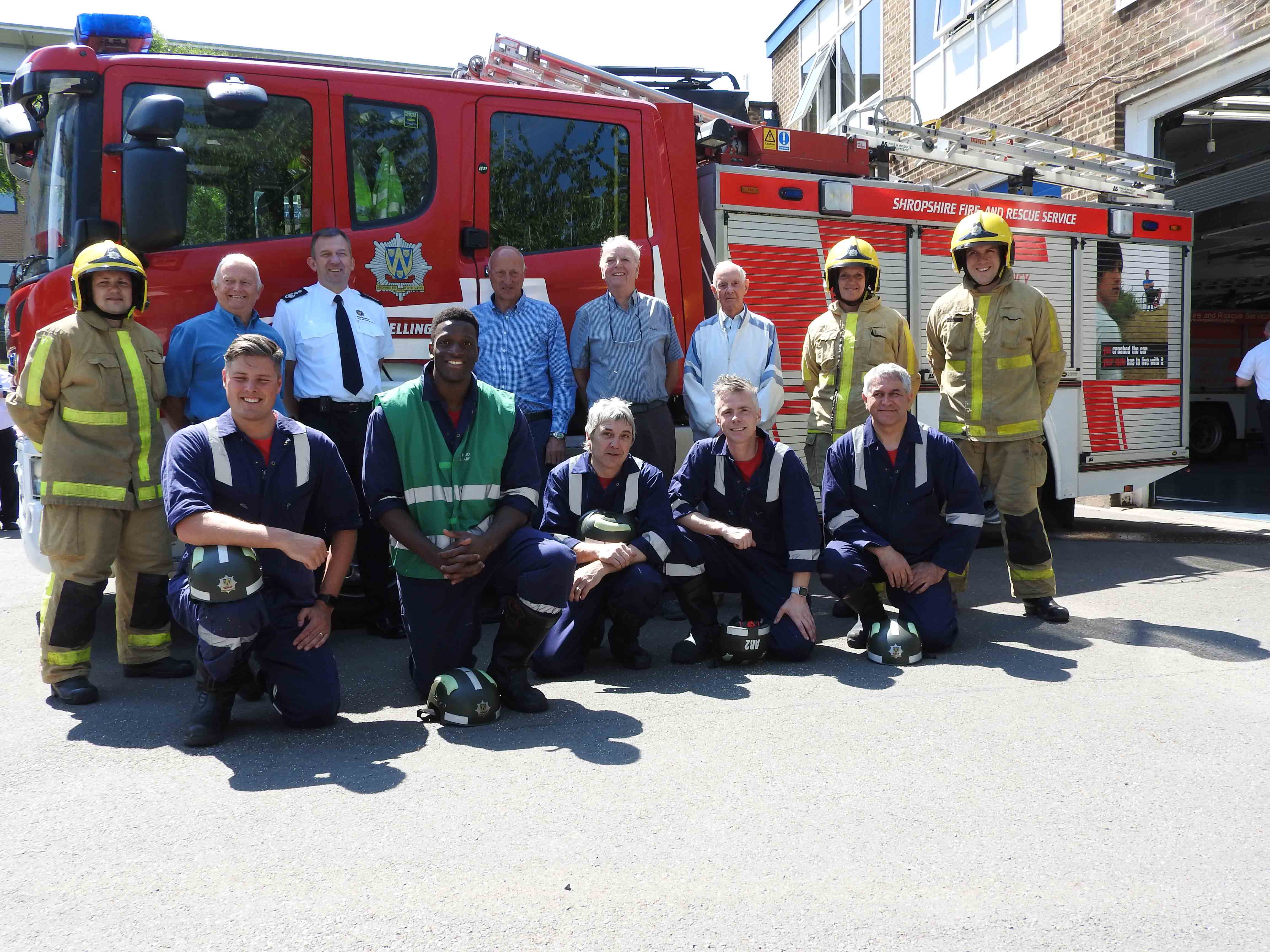 Wellington irefighters and retired colleagues at the 65th anniversary celebrations.