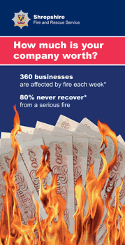 Cover of a Business Fire Safety leaflet entitled - How much is your company worth