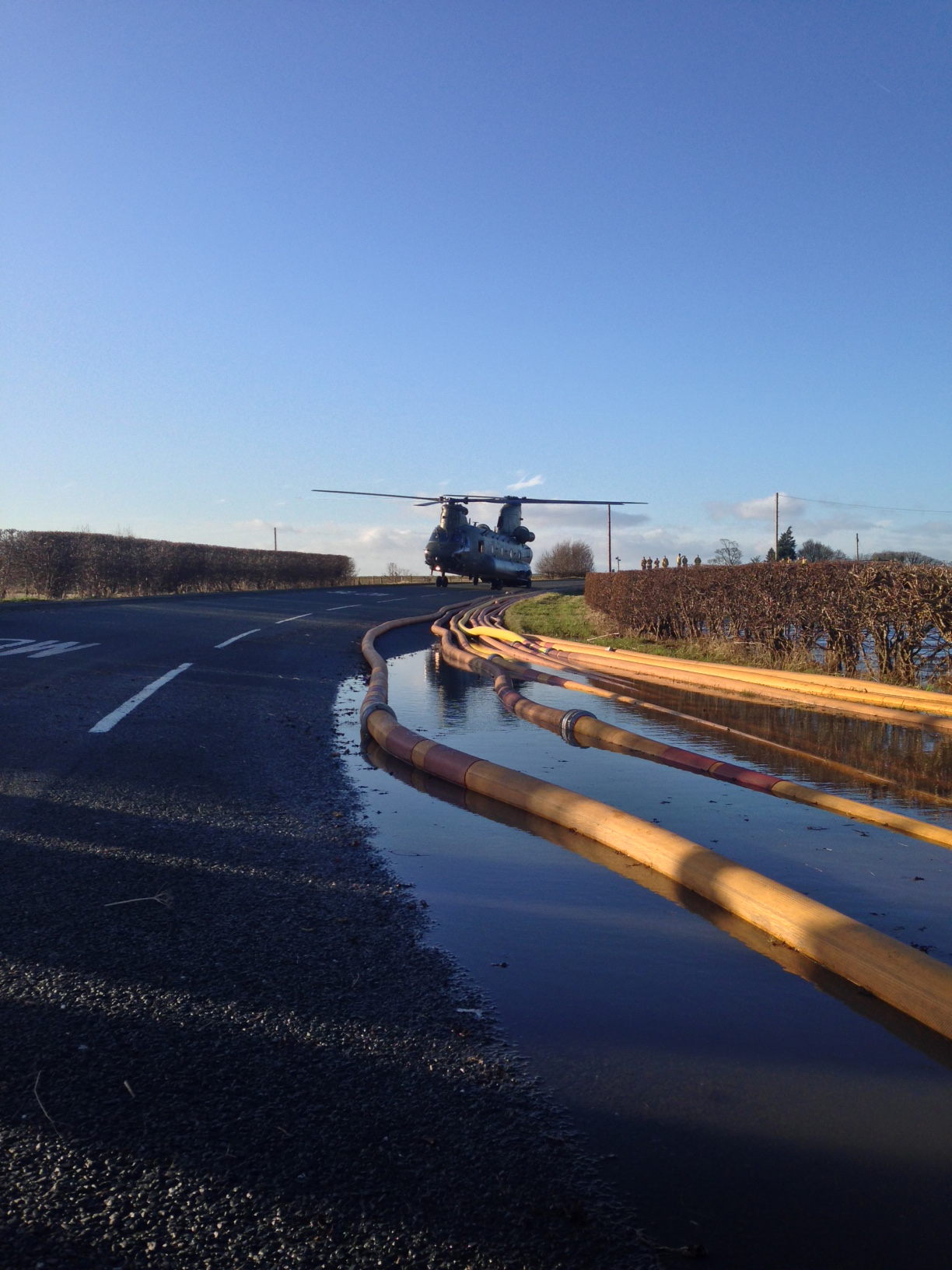 The Chinook helicopter involved in flood relief work near to Shropshire fire crews
