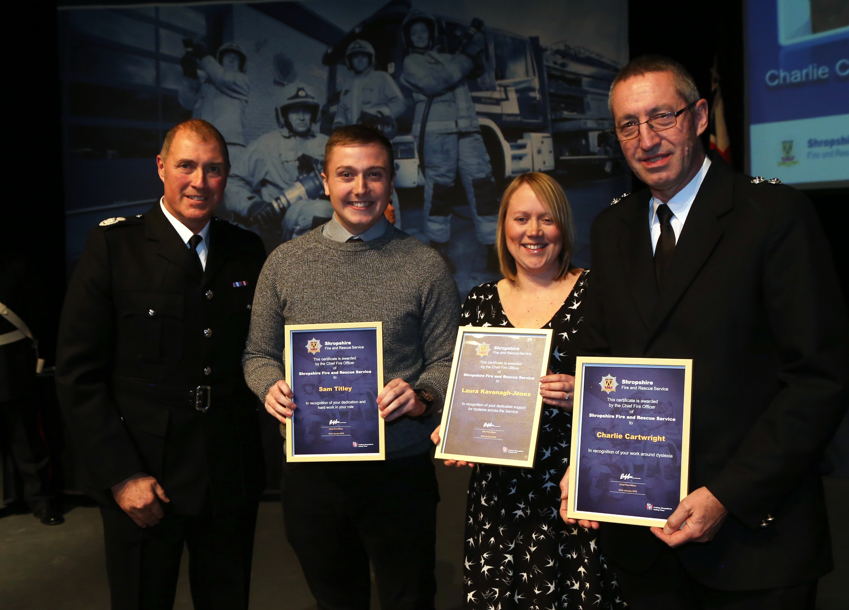 Sam Titley, Laura Kavanagh-Jones and Charlie Cartwright were applauded for their work with dyslexia