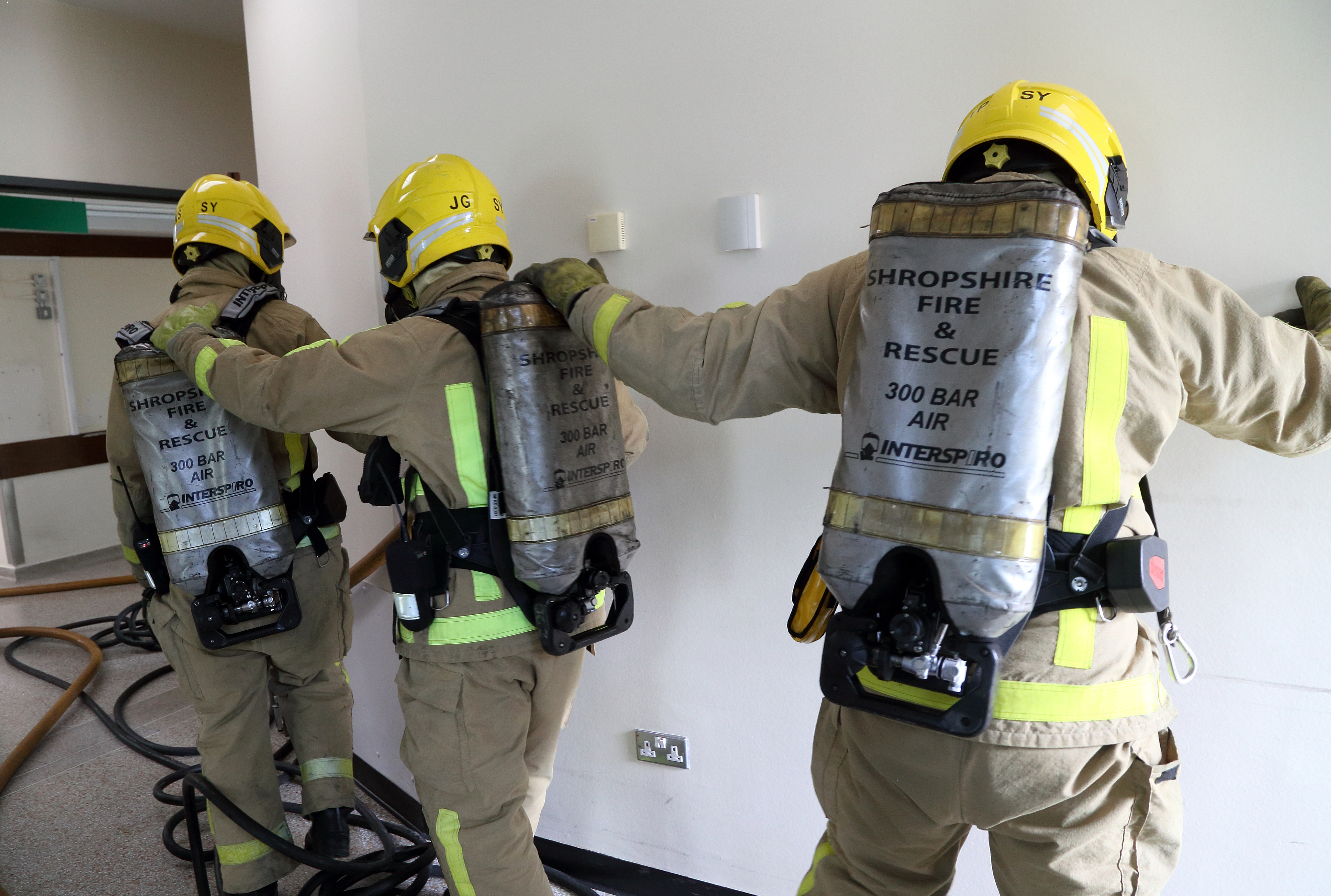 Shropshire firefighters train to search and rescue casualties in a training exercise at Royal Shrewsbury Hospital.