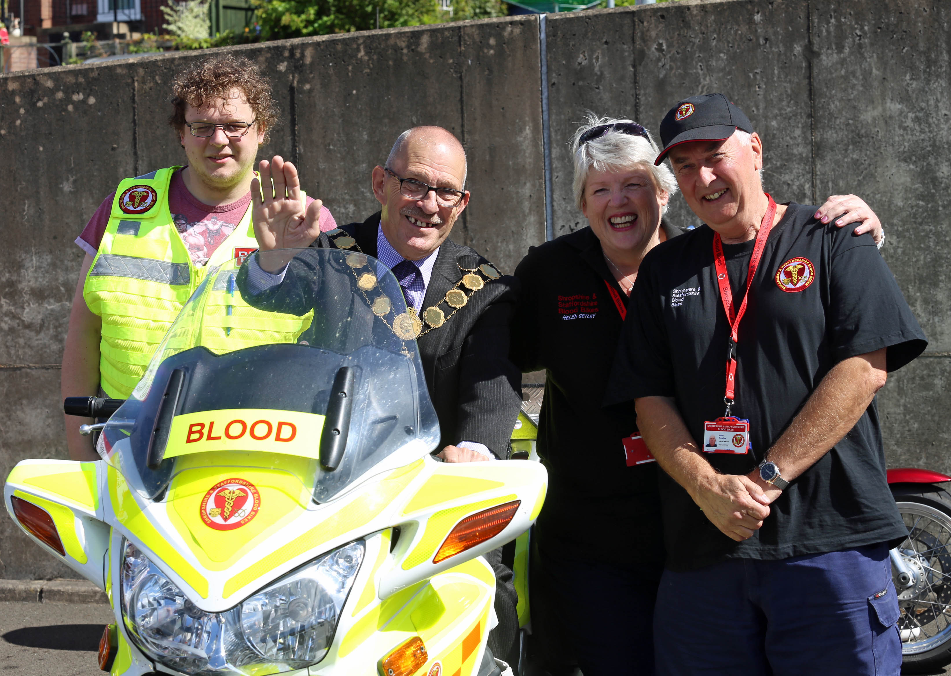 The Mayor of Shrewsbury with Blood Bikes volunteers