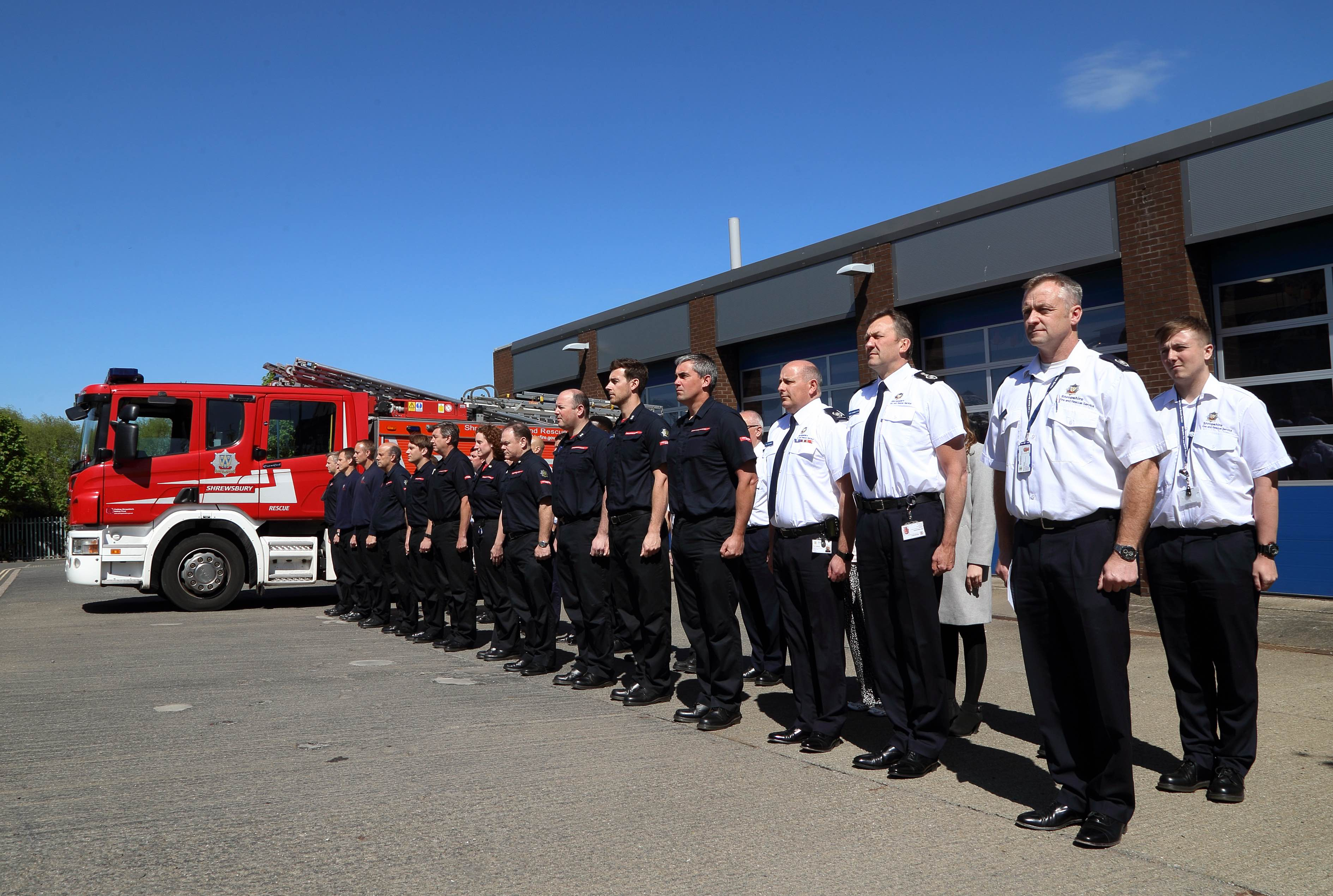 Officers and firefighters' at the Firefighters' Memorial Day tribute at Shrewsbury fire HQ.