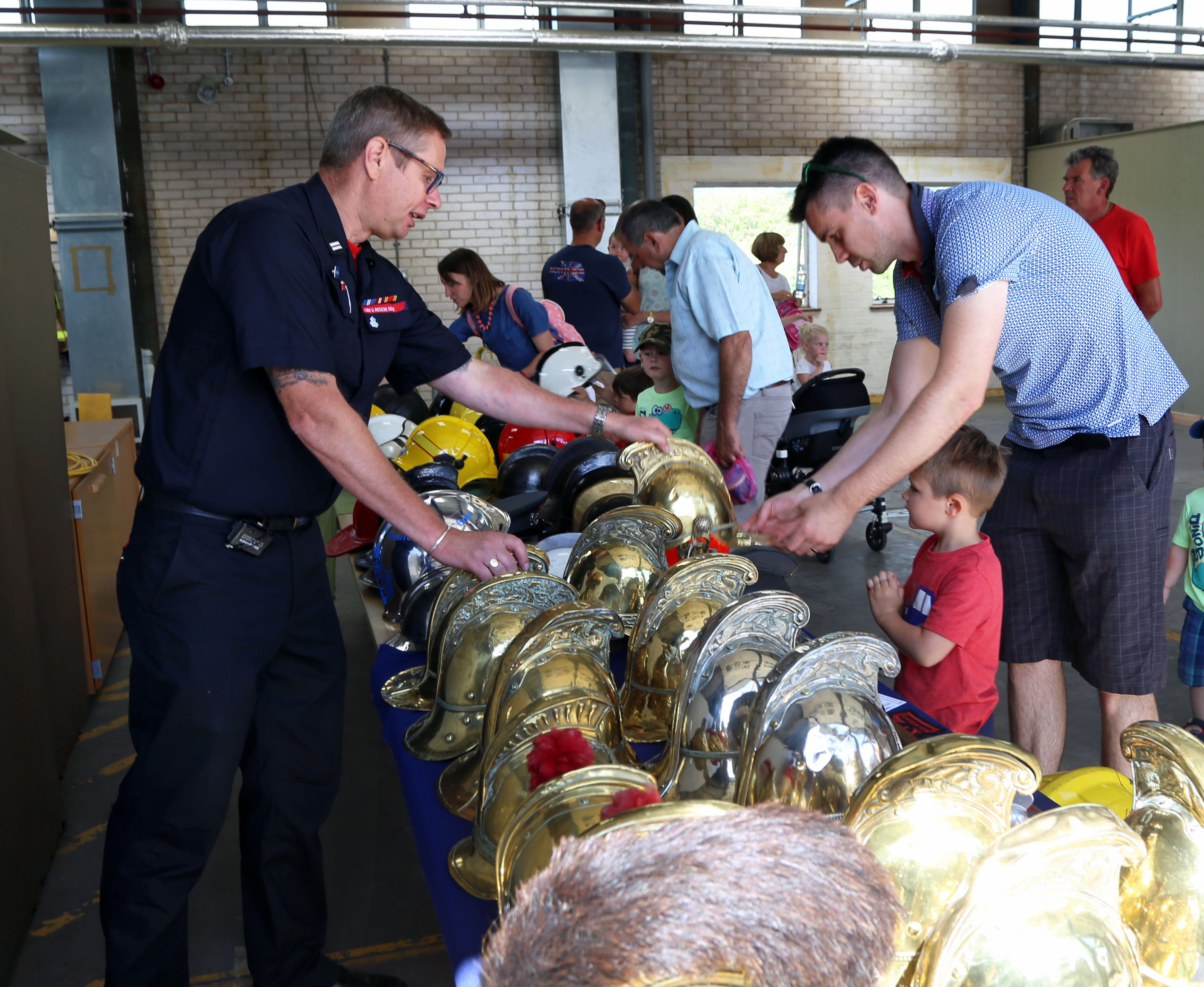 A selection of old firefighter helmets from through the ages were on display at Shrewsbury fire station open day