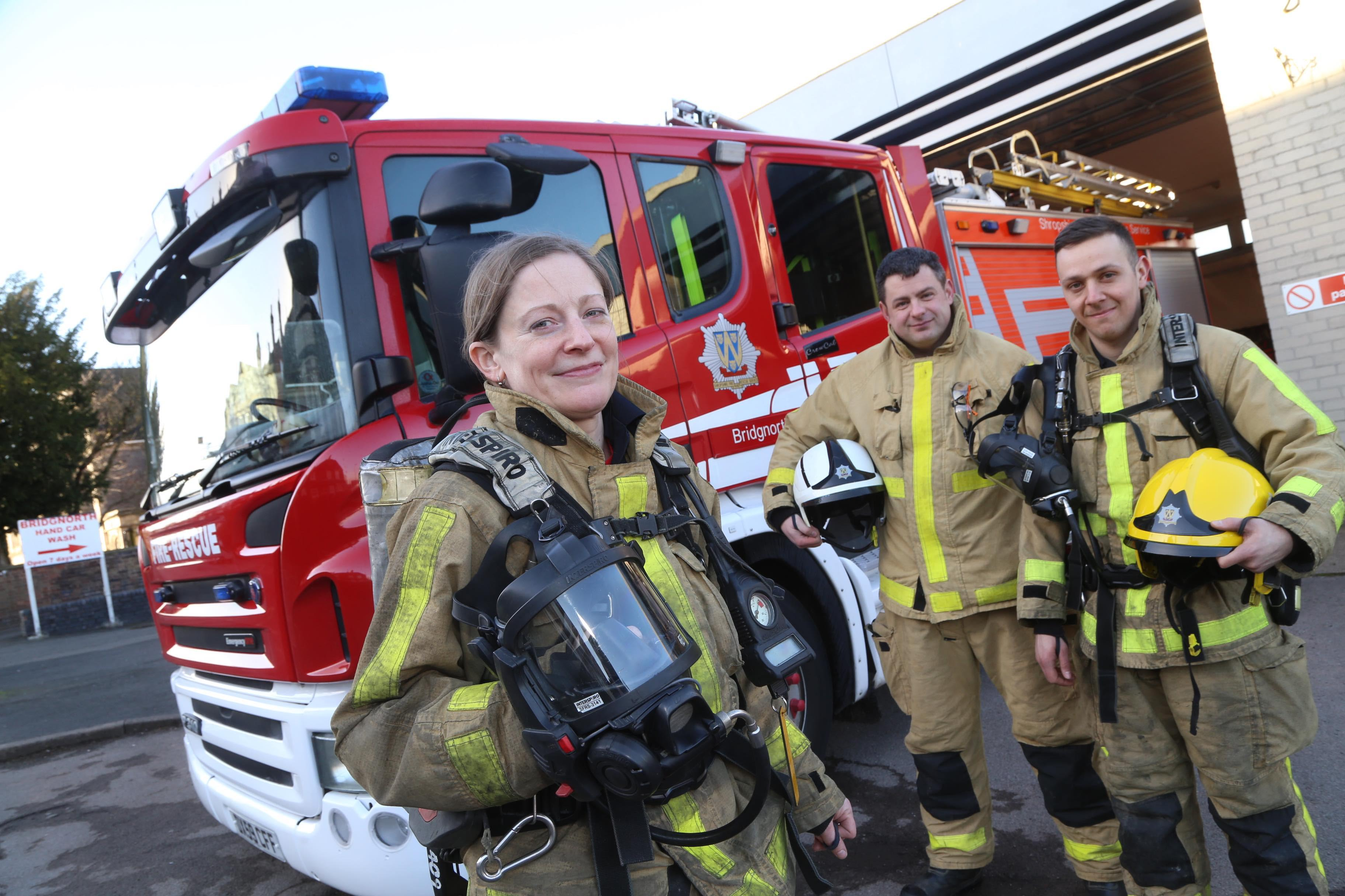 Alice Stanley with Watch Manager Ashley Brown and firefighter Joe Smallman