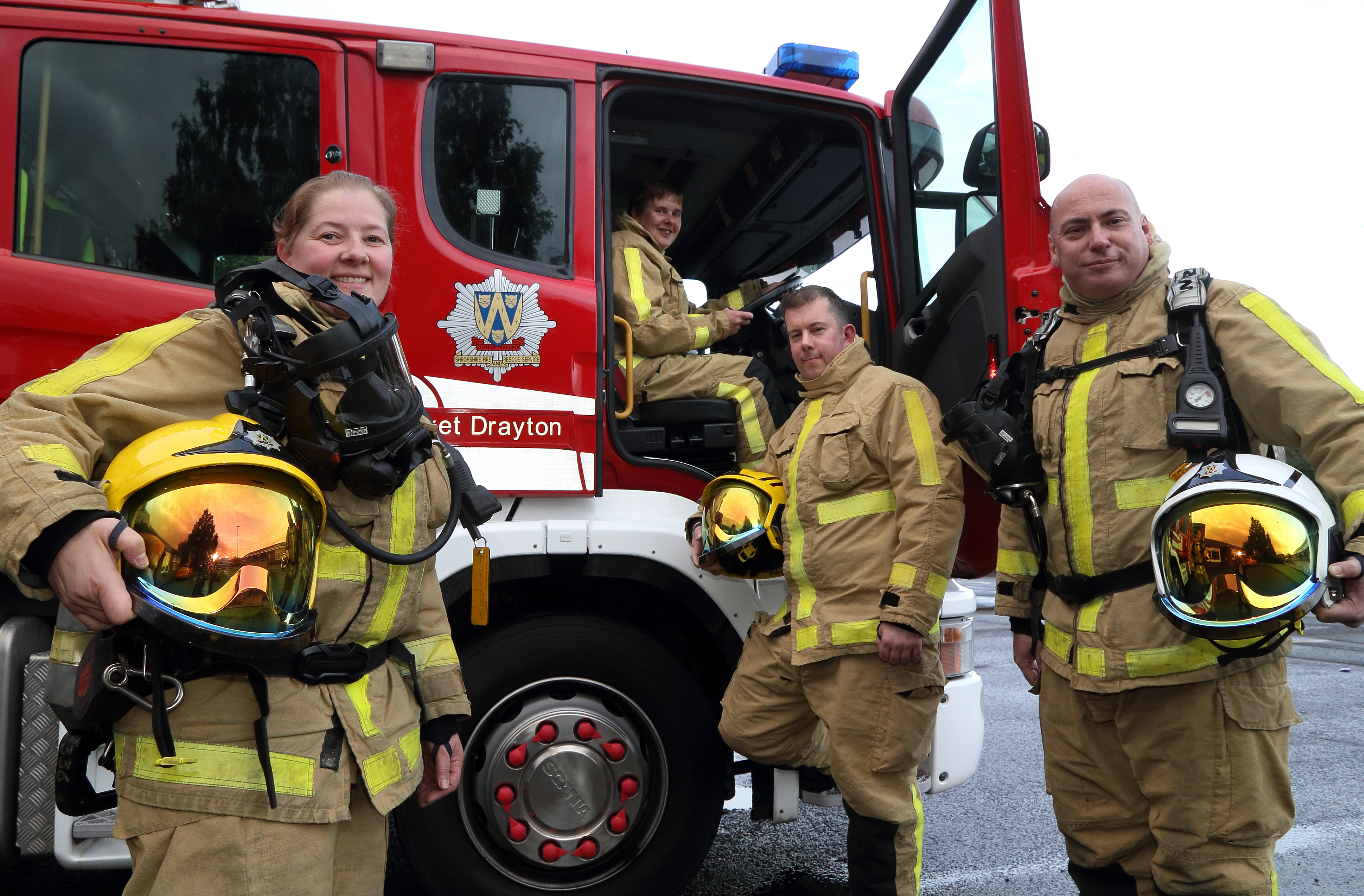 Firefighters Sarah Cartwright, Sally Eynon, Leon Turner and Mark Smith at Market Drayton Fire Station.