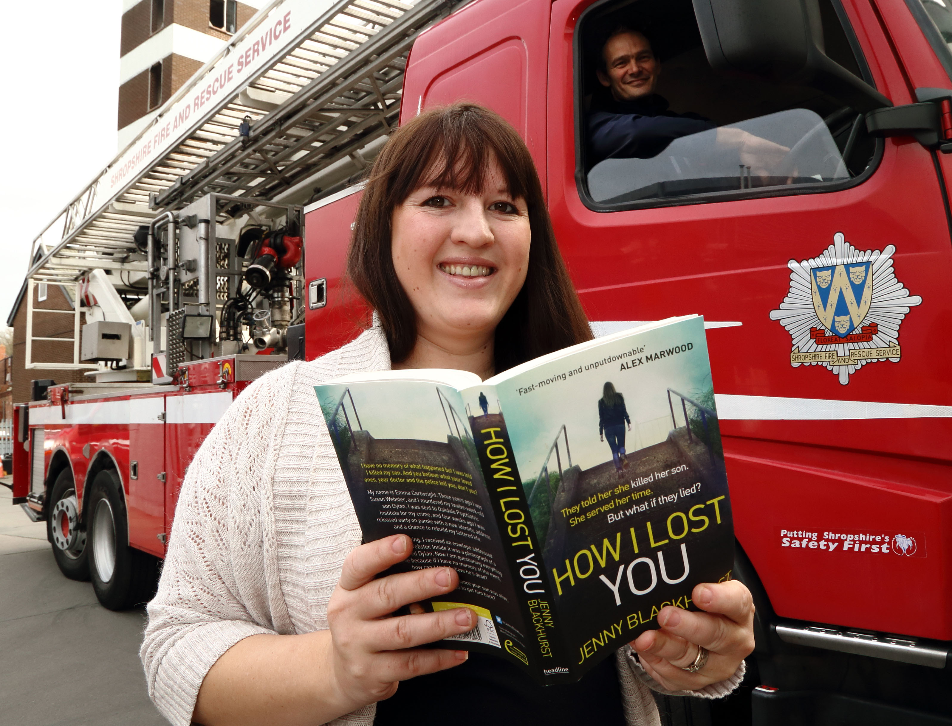 A sure fire hit: Author Jenny Blackhurst with John Robinson, of blue watch at Shrewsbury fire HQ