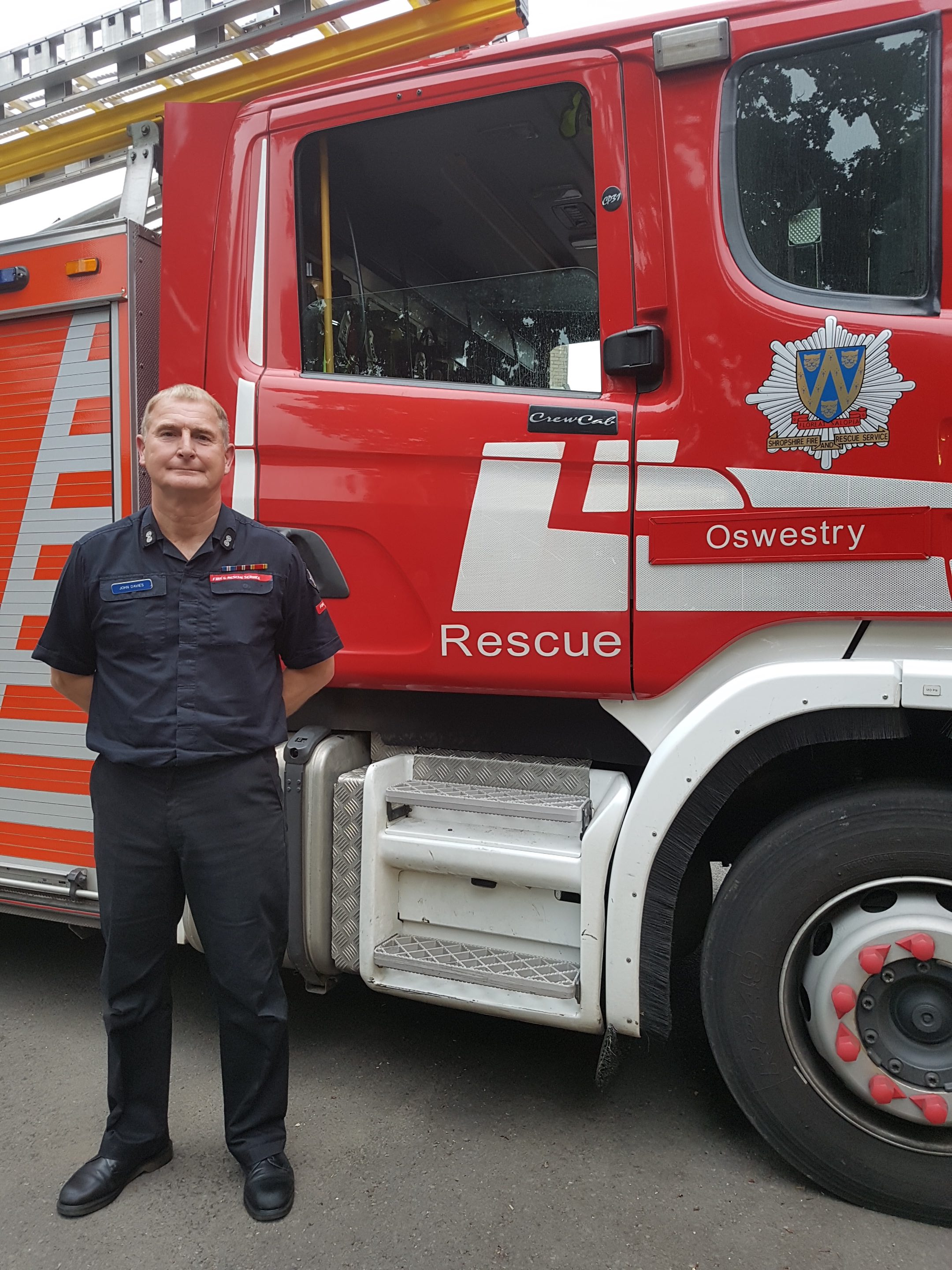 Oswestry Watch Manager John Davies retires after a 33 year career as an on call firefighter