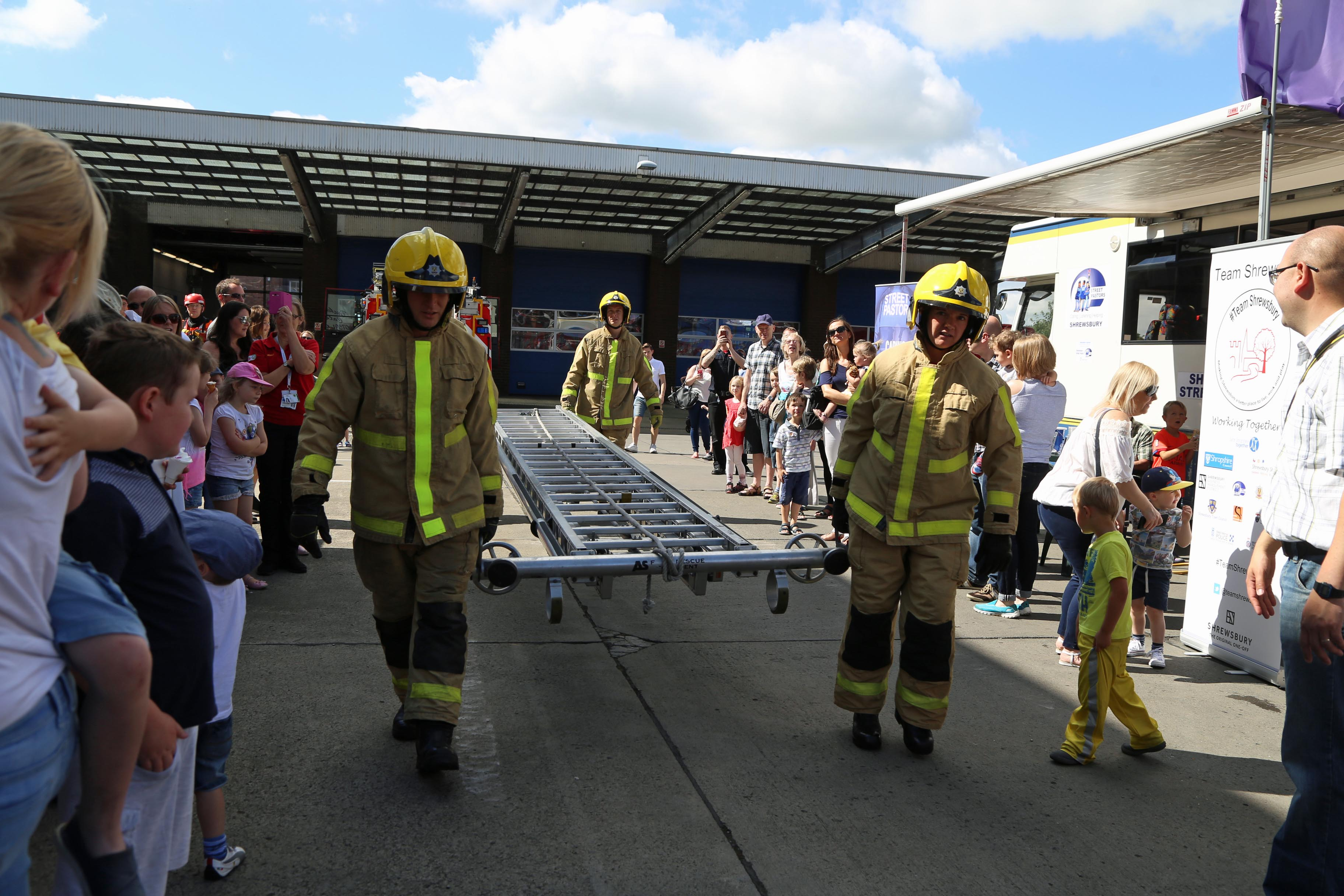 Firefighters gave a ladder skills display