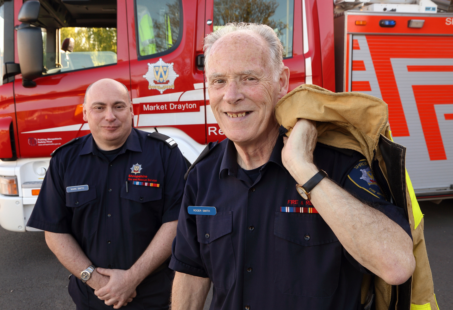 Roger Smith with son Mark, also a Shropshire firefighter