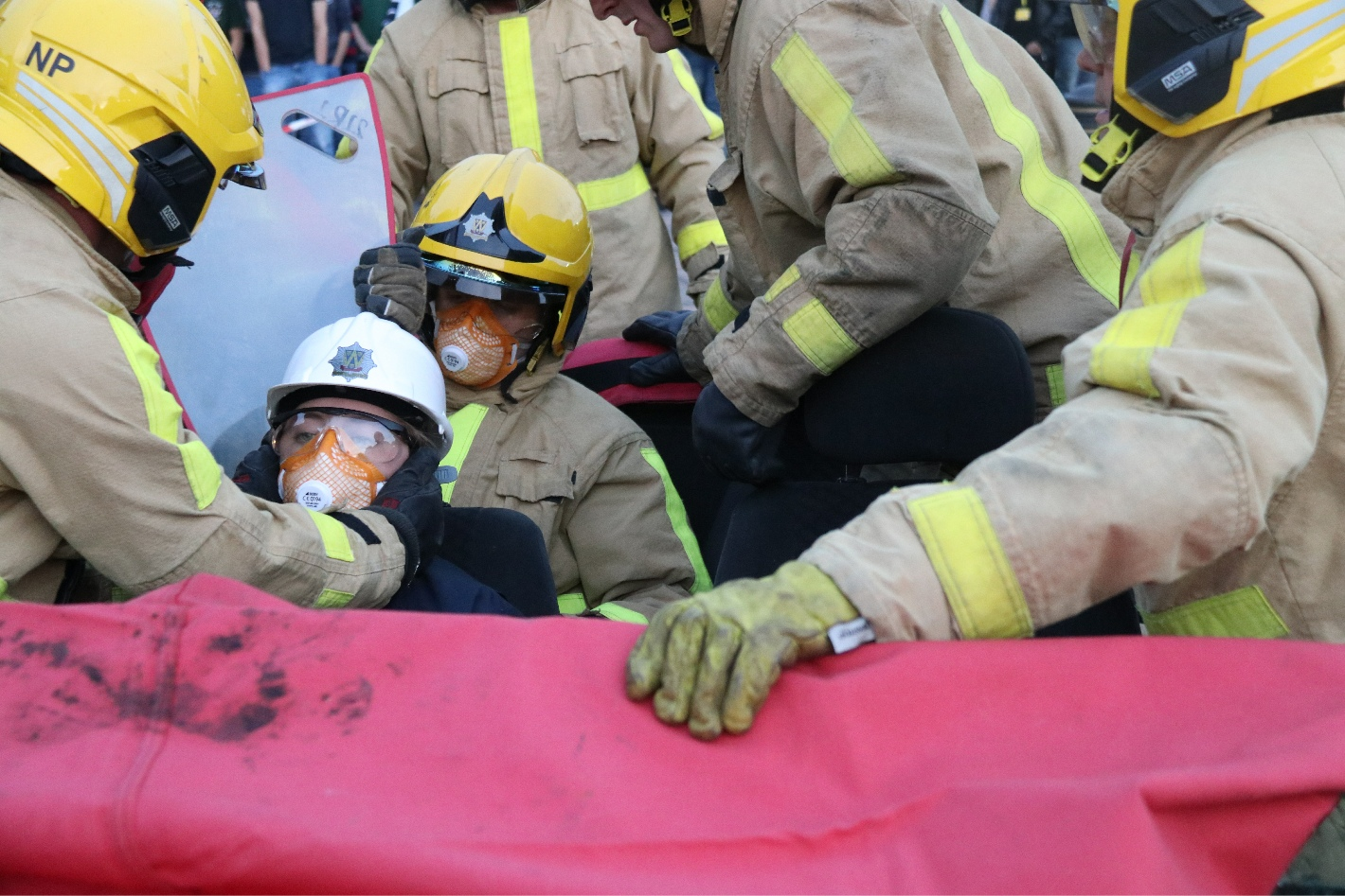 """Amy is reassured by firefighters throughout her """"rescue"""""""