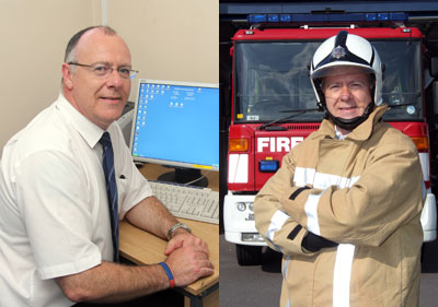 Split pic, with Steve in his office on the left and in fire kit at the station on the right