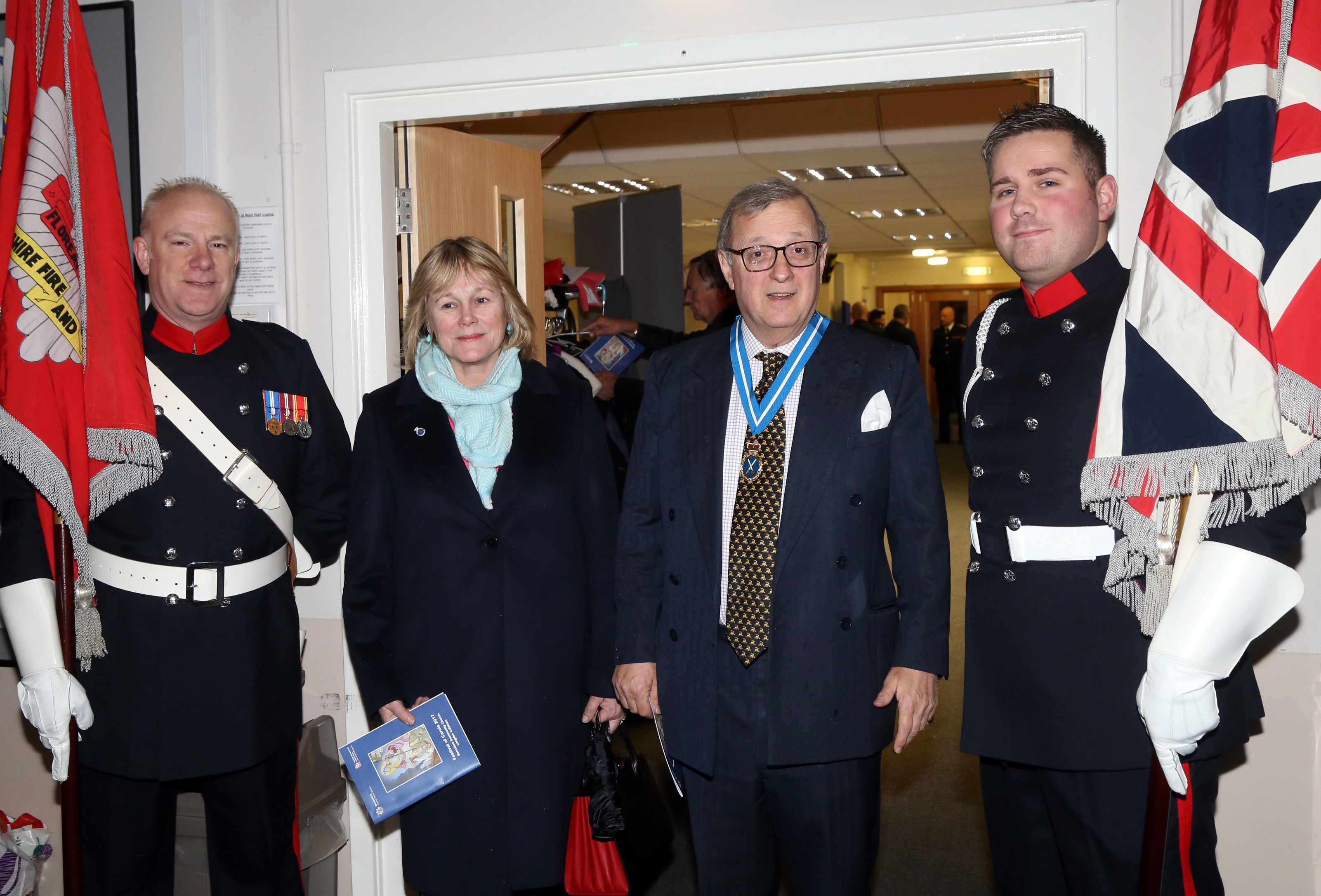 Shropshire High Sheriff and his wife are welcomed to Shropshire Fire and Rescue Service's Festival of Carols