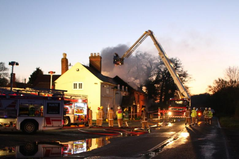Photo of Pub fire at dusk with special appliance