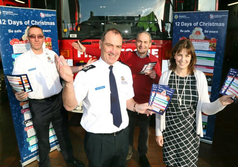 A fire safety campaign for Christmas is launched by Shropshire fire chiefs at Shrewsbury fire HQ. L to R: Charlie Cartwright, John Redmond, Keith Roberts and Louise McKenzie.