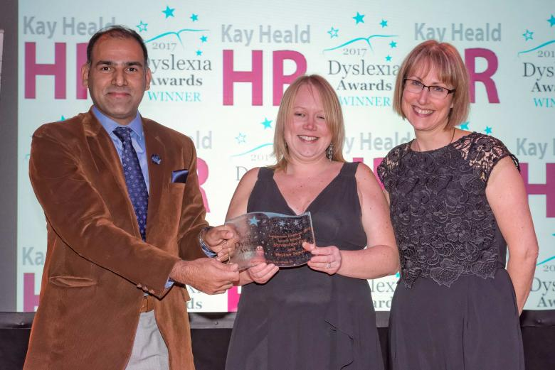 Muhammad Younis and Laura Kavanagh-Jones, of Shropshire Fire and Rescue Service, receive the award from Kay Heald at the Dyslexia Awards 2017 ceremony  Image: ©Infocus Photography – Michael Wilkinson 2017