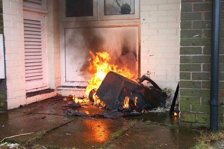 Wheelie bin affected by arson