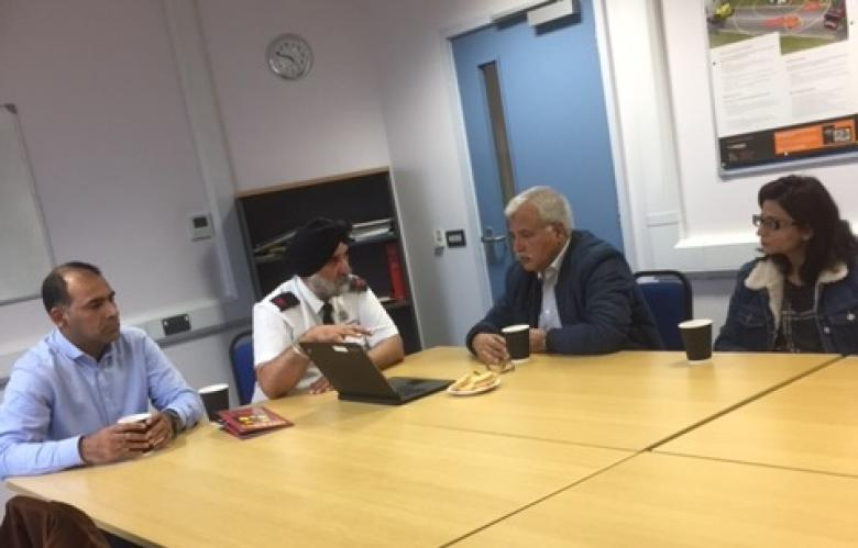 Muhammed Younis, Rabinder Dhami, Afzal Malik and Erum Afzal discuss Shropshire's fire safety educational programme