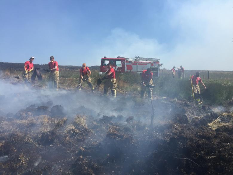 Shropshire firefighters tackle the tough moorland fire in Lancashire today