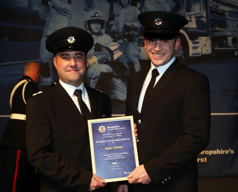 Survival instructor Ryan Talbot was one of four new Shropshire firefighter recruits to win the Top Student award for their individual courses from instructor Matt Angell