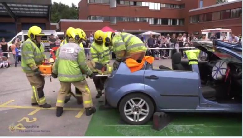 "Telford mayor Councillor Stephen Reynolds volunteered to be ""rescued"" from a car at Telford fire station's open day on Saturday (July 8)"