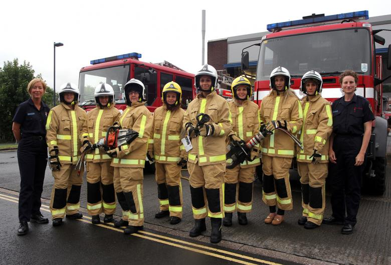 Shropshire women at a firefighting taster session in Shrewsbury