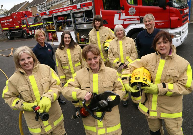 Shropshire firefighters Ruth Walkerdine (left) and Kat Frost (right) with potential new recruits at the Craven Arms taster day for women. Front: Tracey Keene, Sylvie Harley and Sally Mawhinney. Back row, Elizabeth Dixon, Victoria Butt and Christine Rooney.