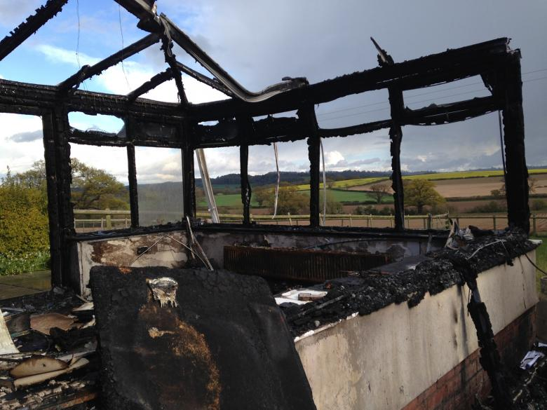Beautiful conservatory views over Shropshire countryside were destroyed in a dryer fire