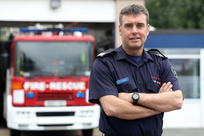 On call firefighter Jez Chambers has been promoted since receiving help for dyslexia