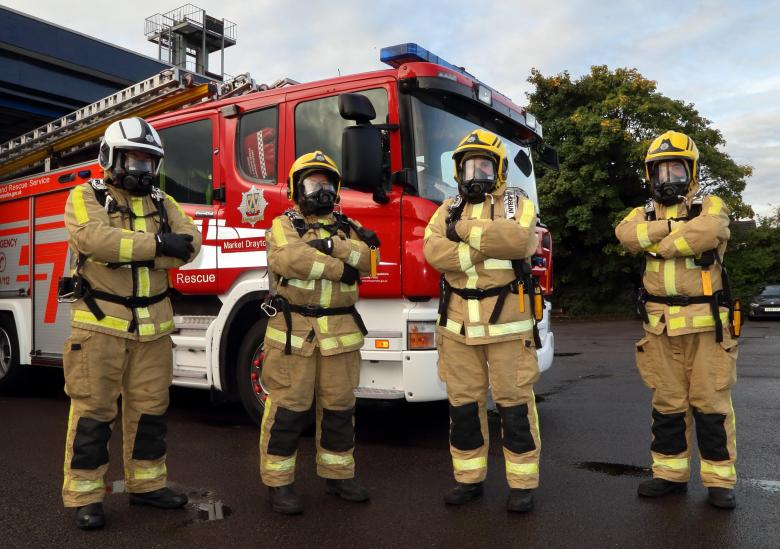 Which firefighter is male and which is female in this line up ? You can't tell the difference because there is no difference as they are all firefighters, says Shropshire Fire and Rescue Service.