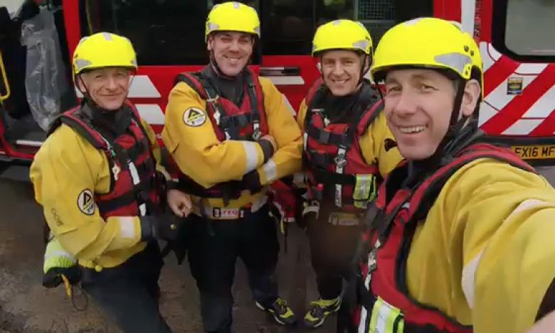 Shropshire Fire and Rescue Service Station Managers undergoing the flood water rescue training were(left to right) Ian Leigh, James Bainbridge, Chris White and Craig Jackson.