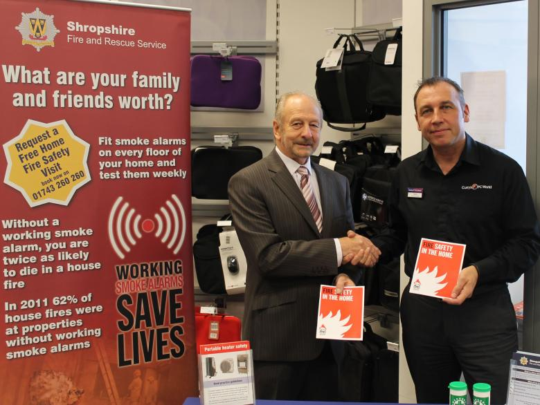 Shropshire and Wrekin Fire Authority Chairman Stuart West launches the electrical safety campaign with Shrewsbury store manager Mark Brennan.