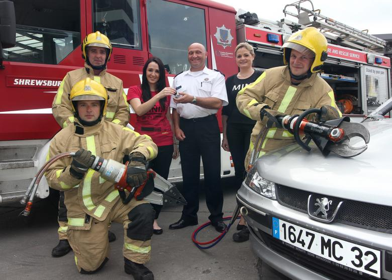 Shropshire firefighters with scrap car