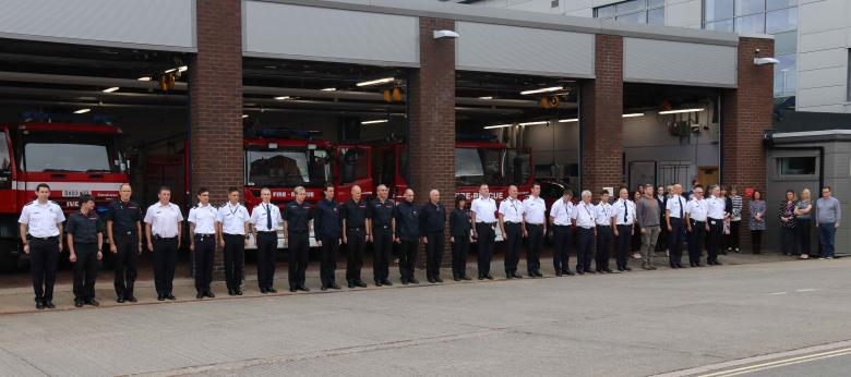 Firefighters and staff from Shrewsbury fire HQ at today's memorial tribute