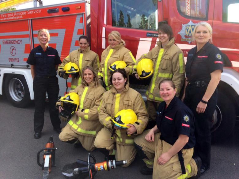 Ruth Walkerdine (far left), Michelle Townsend (far right) and Sarah Cartwright (front right) spoke about their life as firefighters to would be recruits at Market Drayton fire station. L to r: Rachel Thomas, Emma Owen and Becca Peace-Winn with (front) Laura Crew and Camilla Edwards.