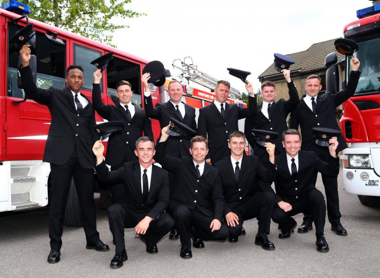 Hats off to the new recruits at Shropshire Fire and Rescue Service : left to right (back row): Leonardo Silva, Alec Wright, Paul Barlow, James Fisher, Ricky Dumbrell, Ryan Talbot          (front row): Gary Evans, John Pullen, Mark Bishton and Alex Mason
