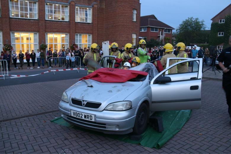 "Firefighters ""rescue"" Harper Adams University student Amy Brough from a destroyed Vauxhall Astra"