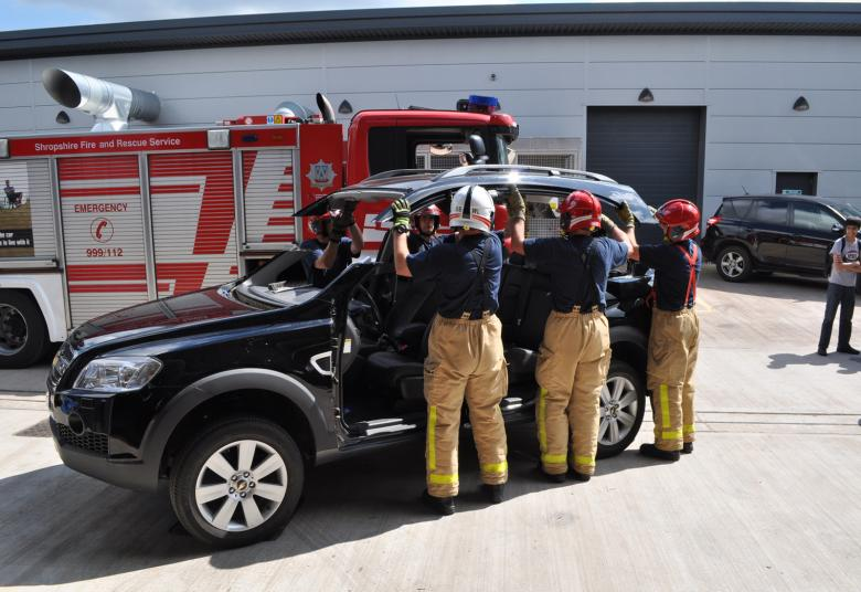 Shropshire firefighters remove the car roof