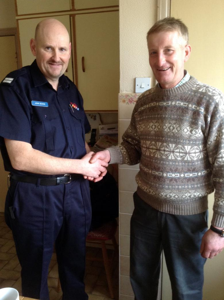 Thank you from rescued farmer Graham Heatley to Ellesmere crew manager John Deakin.