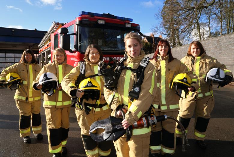 Women at a firefighter taster day in Shropshire